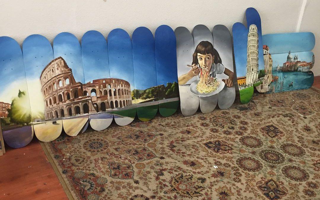 Peintures italiennes sur skateboard